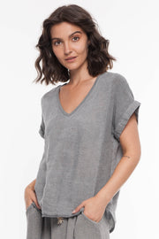 European Linen Blend Mixed Media Top