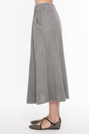 European Linen Blend Skirt with Tie