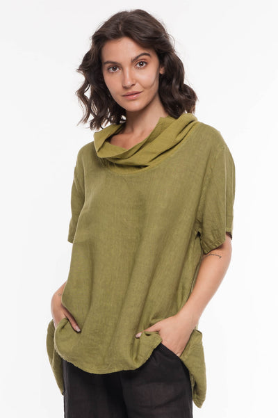 European Linen Cowl Neck Top