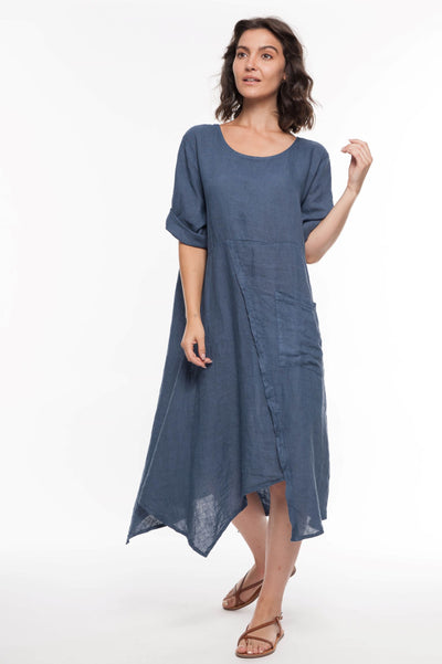 European Linen Midi Pocket Dress - Breathable Naturals | Glam & Fame Clothing