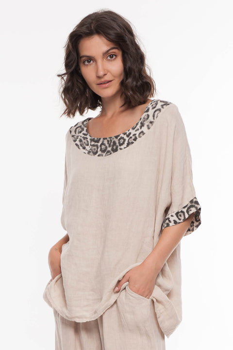 European Linen Printed Collar Top