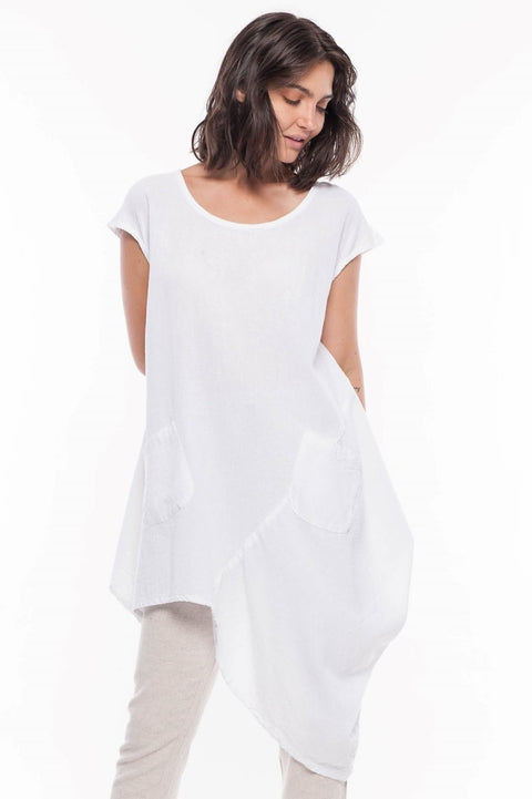 Asymmetrical Tunic with Pockets - Breathable Naturals | Glam & Fame Clothing
