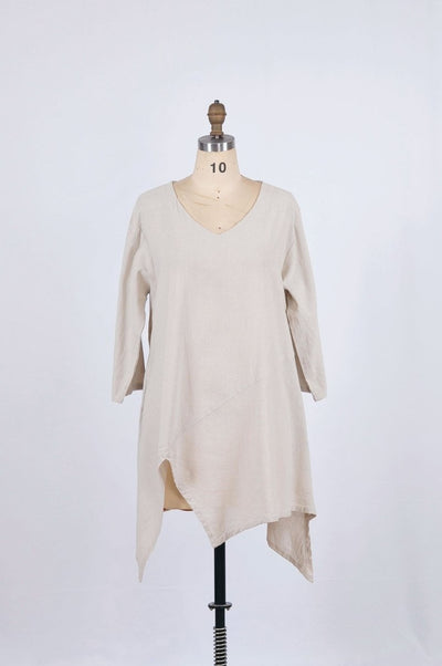 Oatmeal Canvas Cotton Tunic - Glam & Fame | Breathable Naturals