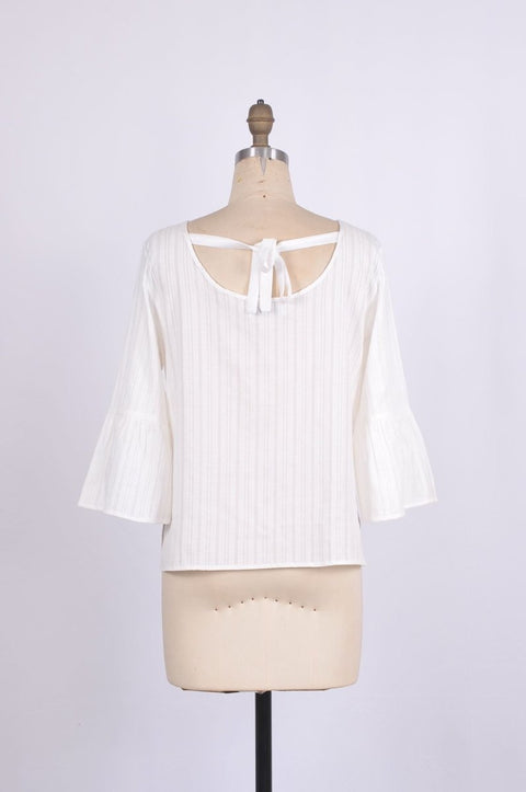 G&F Blair Cotton Top with Bell Sleeves in Jacquard Weave - Glam & Fame | Breathable Naturals