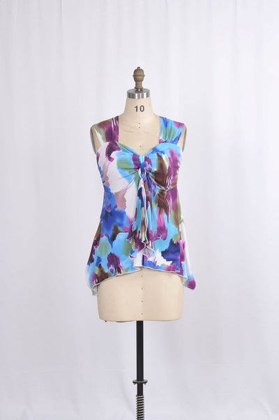 Darian Blouse with Princess Neckline in Violet Hues - Glam & Fame | Breathable Naturals
