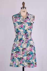 G&F Brenda Cotton Blend Summer Dress in Dahlia Print - Glam & Fame | Breathable Naturals