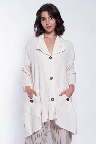 Nahil Cotton Shirt Jacket - Breathable Naturals | Glam & Fame Clothing