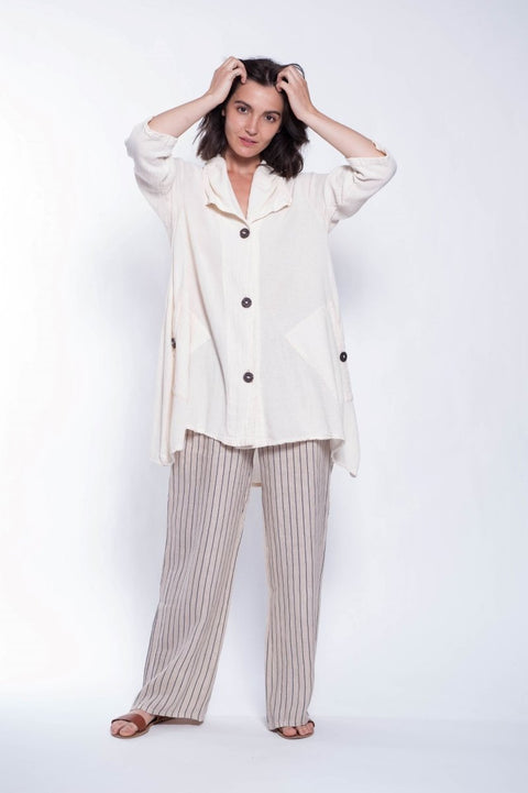 Cotton Nahil Shirt Jacket - Breathable Naturals | Glam & Fame Clothing