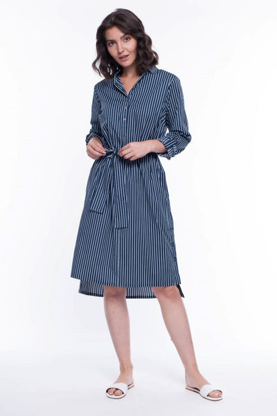 Premium Cotton Striped Shirt Dress - Breathable Naturals | Glam & Fame Clothing