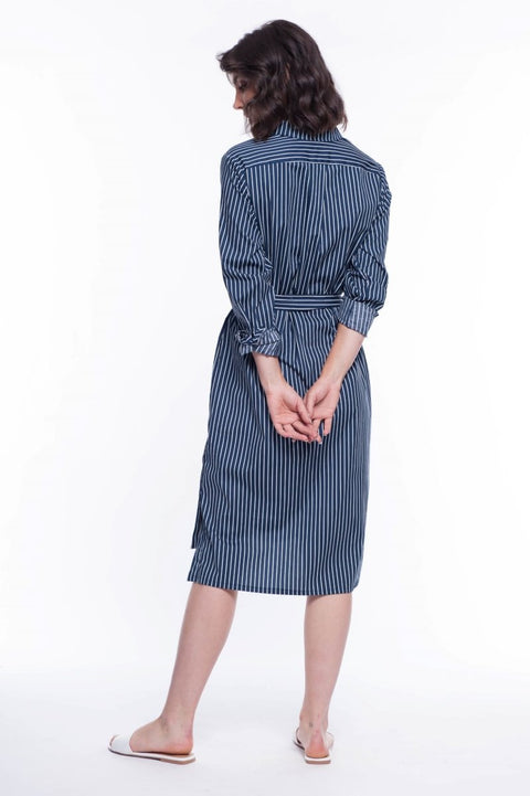 Cotton Striped Shirt Dress with Belt - Breathable Naturals | Glam & Fame Clothing