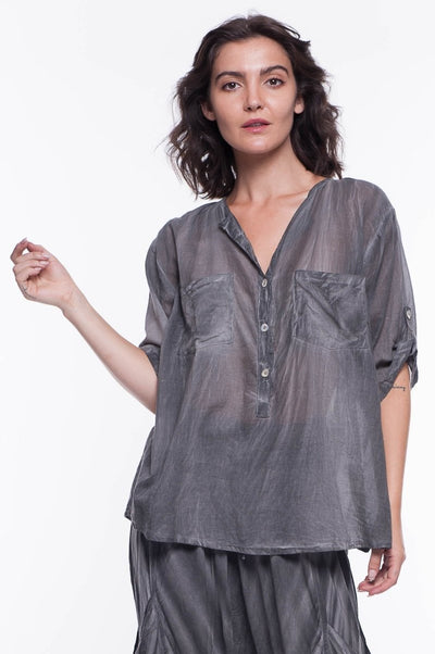 Cotton Voile Shirt Two Pockets - Breathable Naturals | Glam & Fame Clothing