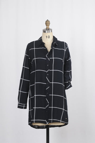 Flannel Plaid Long Shirt - Glam & Fame | Breathable Naturals
