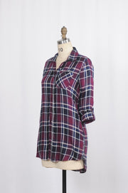 Button Down Plaid Shirt - Glam & Fame | Breathable Naturals