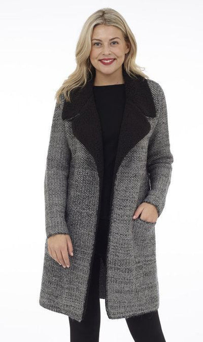 Knit Jacket with Faux Shearling - Glam & Fame | Breathable Naturals