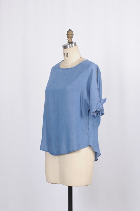 Tie Sleeve Denim Blouse - Glam & Fame | Breathable Naturals