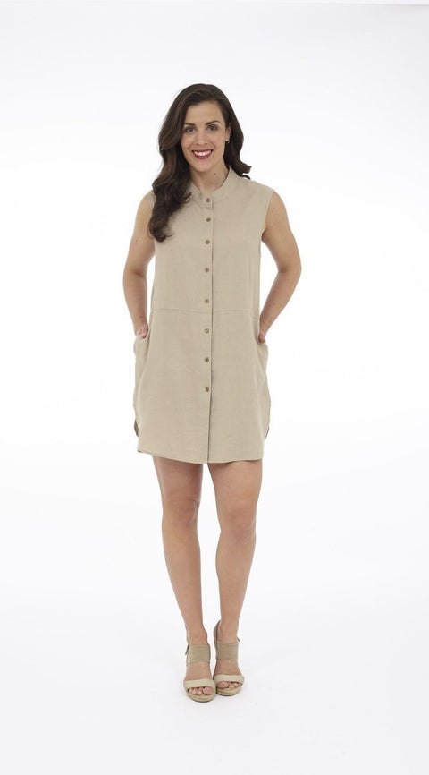 Button Down Linen Blend Tunic Dress - Glam & Fame | Breathable Naturals