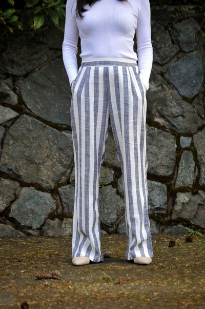 Linen Blend Striped Pants - Glam & Fame | Breathable Naturals