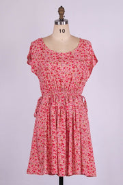 G&F Drew Cotton Blend Summer Dress in Carnation Print - Glam & Fame | Breathable Naturals