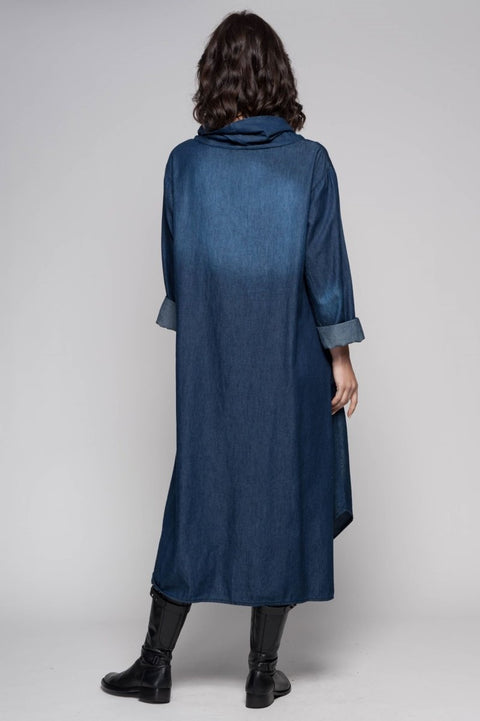 European Cotton Denim Cowlneck Maxi Dress - Breathable Naturals | Glam & Fame Clothing