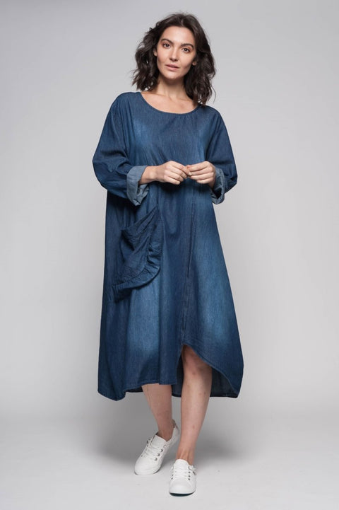European Cotton Denim Dress with Slouchy Pocket - Breathable Naturals | Glam & Fame Clothing
