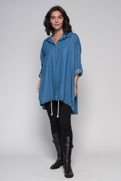 European Cotton Denim Hi-Lo Shirt - Breathable Naturals | Glam & Fame Clothing