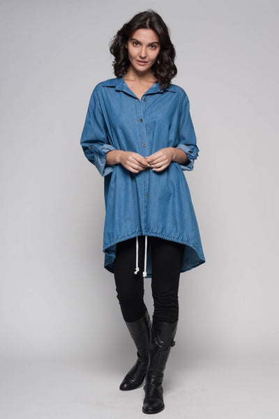 European Cotton Denim Shirt - Breathable Naturals | Glam & Fame Clothing