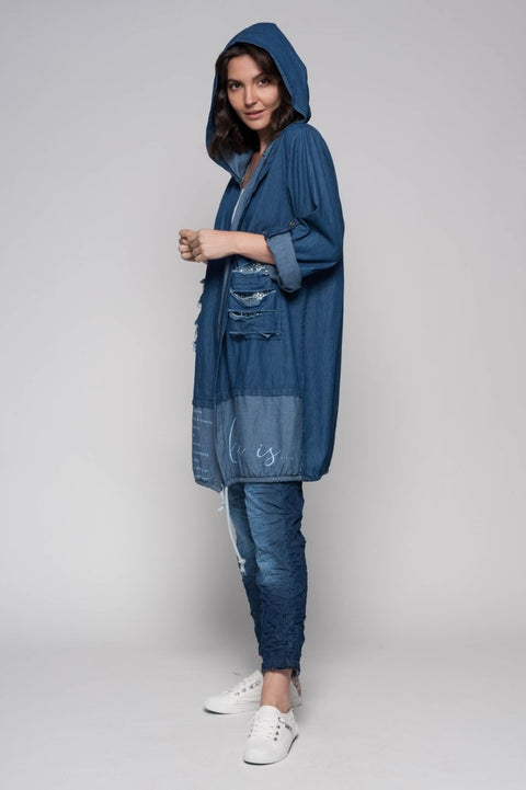 European Cotton Denim Long Hoodie with Fringe - Breathable Naturals | Glam & Fame Clothing