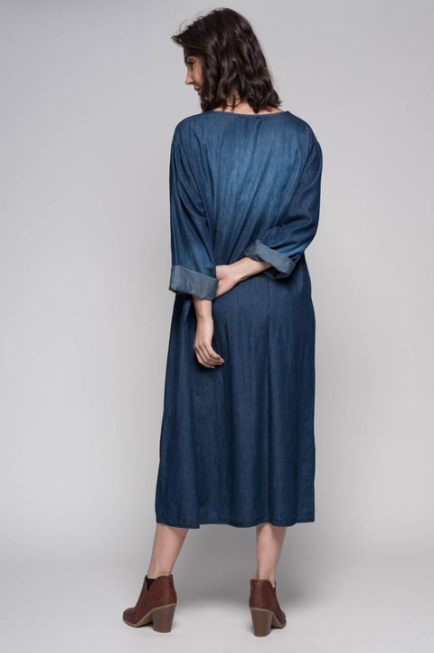 European Cotton Denim Maxi Dress - Breathable Naturals | Glam & Fame Clothing
