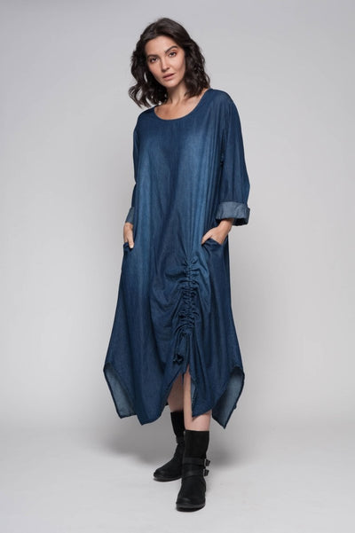 European Cotton Denim Maxi Dress with Ruching Tie Hem - Breathable Naturals | Glam & Fame Clothing