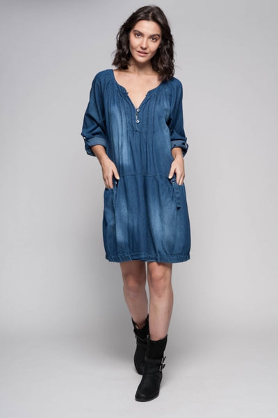 European Vintage Denim Dress - Breathable Naturals | Glam & Fame Clothing