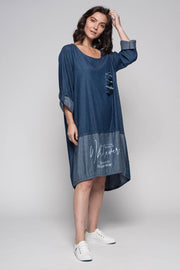 European Cotton Denim Midi Dress with Fringe - Breathable Naturals | Glam & Fame Clothing