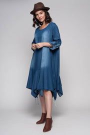 European Cotton Denim Midi Flare Dress - Breathable Naturals | Glam & Fame Clothing