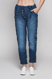 European Cotton Denim Textured Pants - Breathable Naturals | Glam & Fame Clothing