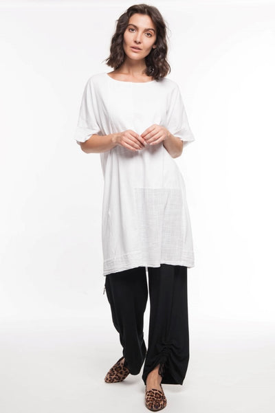 European Mixed Media Cotton Tunic - Breathable Naturals | Glam & Fame Clothing