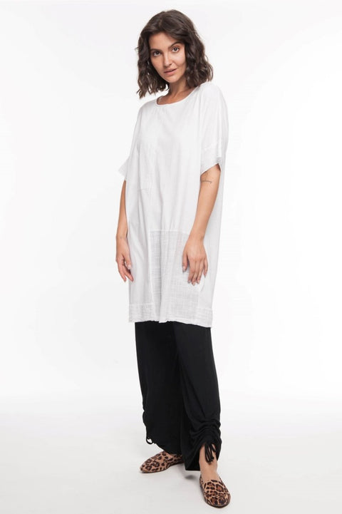 European Cotton Mixed Media Tunic - Breathable Naturals | Glam & Fame Clothing