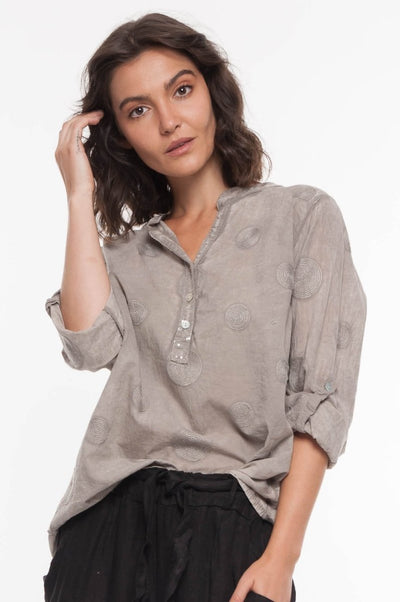 European Cotton Swirl Shirt - Breathable Naturals | Glam & Fame Clothing