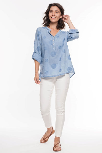 European Cotton Swirl Embroidery Shirt - Breathable Naturals | Glam & Fame Clothing
