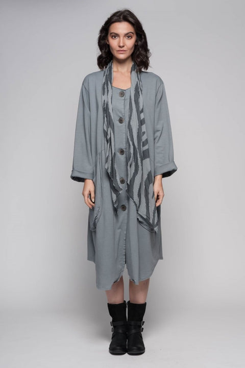 European Cotton Terry Long Coat with Scarf - Breathable Naturals | Glam & Fame Clothing