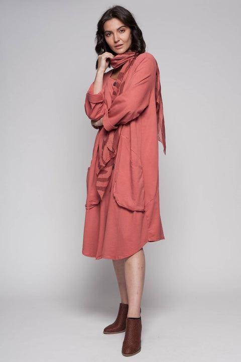 European Cotton French Terry Coat- Breathable Naturals | Glam & Fame Clothing