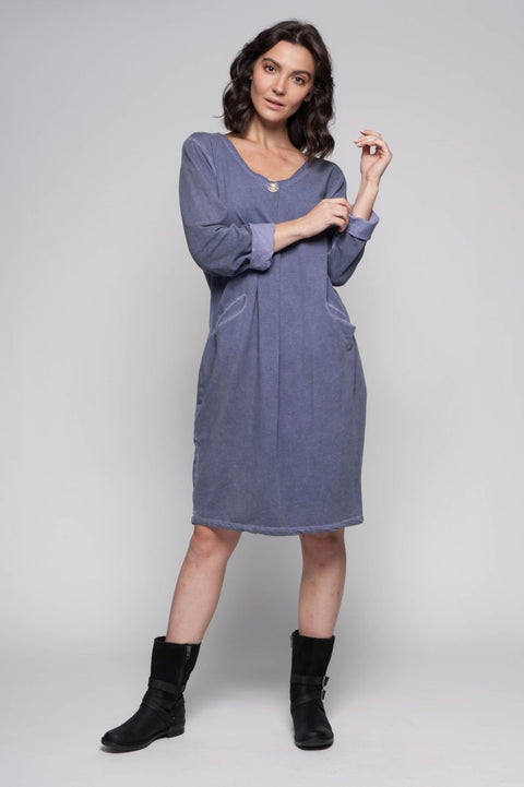 European Cotton Terry Midi Dress - Breathable Naturals | Glam & Fame Clothing