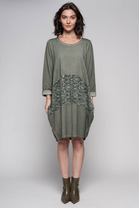 European Cotton Terry Midi Sweater Dress - Breathable Naturals | Glam & Fame Clothing