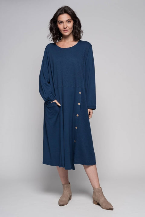 European Cotton Terry Midi Sweater Dress with Buttons - Breathable Naturals | Glam & Fame Clothing