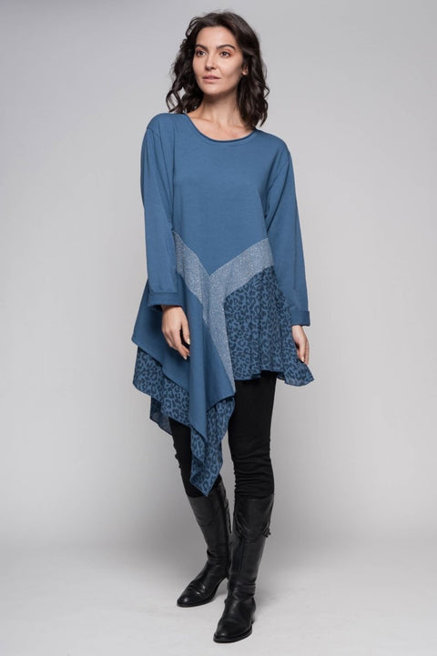 European Cotton Terry Mixed Media Tunic - Breathable Naturals | Glam & Fame Clothing