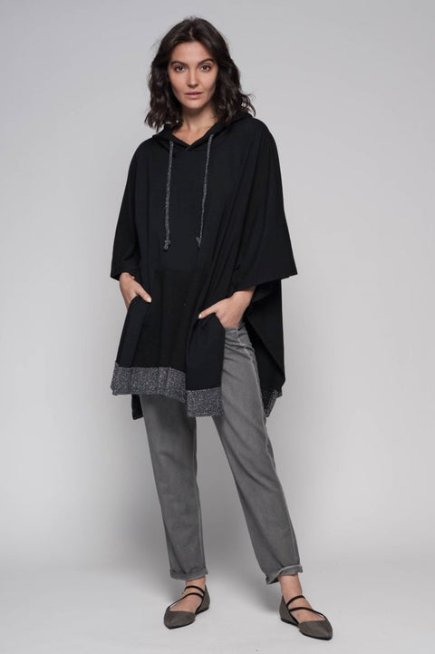 European Cotton Terry Poncho Hoodie - Breathable Naturals | Glam & Fame Clothing