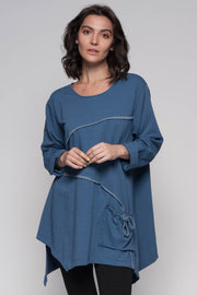European Cotton Terry Pullover with Pocket - Breathable Naturals | Glam & Fame Clothing