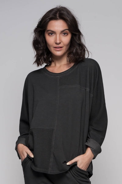 European Cotton Terry Textured Pullover - Breathable Naturals | Glam & Fame Clothing