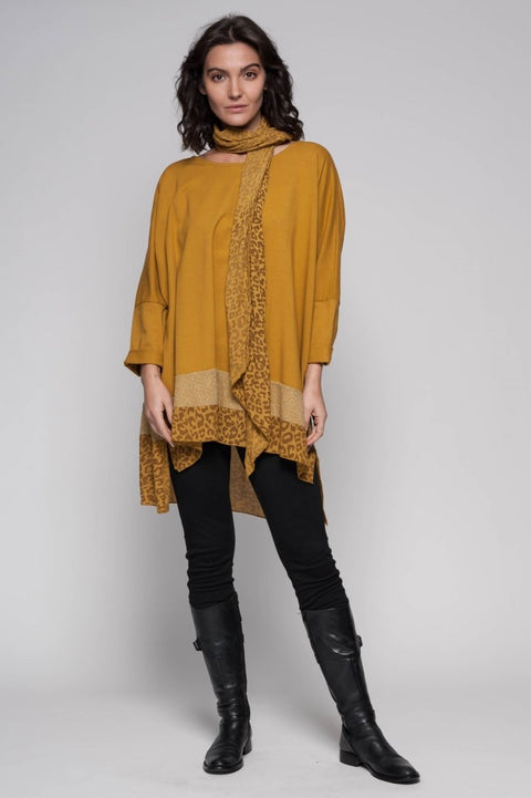 European Cotton Terry Tunic and Scarf - Breathable Naturals | Glam & Fame Clothing
