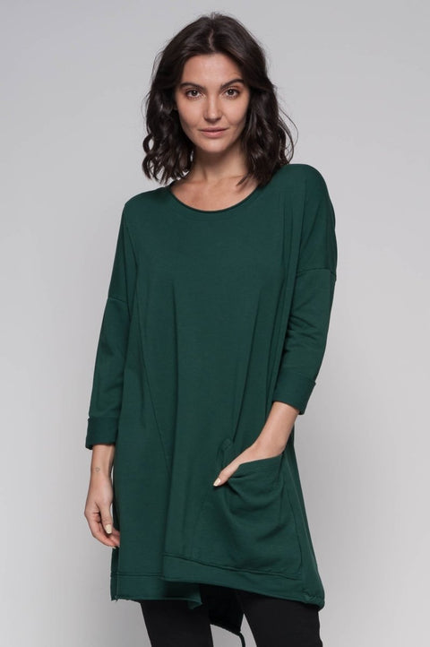 European Cotton French Terry Pocket Tunic - Breathable Naturals | Glam & Fame Clothing