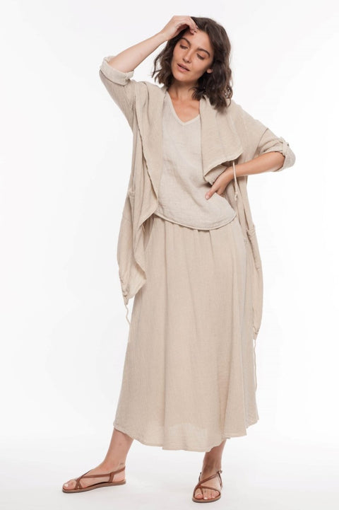 European Mixed Media Linen Kimono - Breathable Naturals | Glam & Fame Clothing