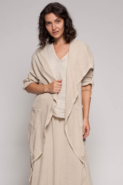 European Linen Blend Mixed Media Kimono - Breathable Naturals | Glam & Fame Clothing